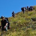 Steep descend through tussock and shrubs