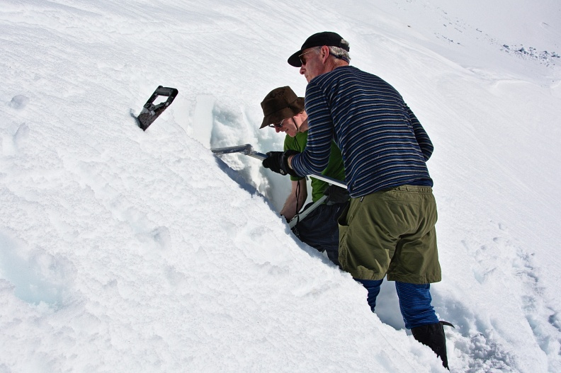 Digging snow-cave entrance