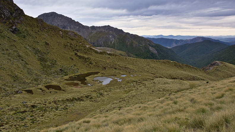 Tarns in basin west of Spence Hut
