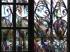 Ribbons fitinhas tied to the window screen at church Igreja de N