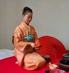 Folding fukusa (orange silk cloth)