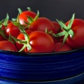 Bright red cherry tomatoes in a dark blue bowl