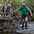Trampers crossing Silver Stream tributary