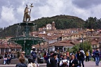 Plaza de Armas with statue of Inca Pachacuti