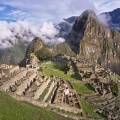 Machu Picchu ruins and Huayna Picchu mountain