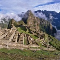 Panorama of Machu Picchu, Huayna Picchu, Putukusi Mountain, and