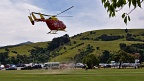 Rescue helicopter landing in Akaroa