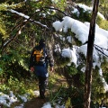 Tramping along Green Ridge with some melting snow