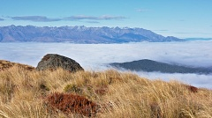Harts Hill and Takitimu Mountains above sea of clouds