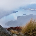 Rock and tussock above Lake Te Anau and clouds