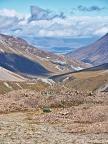 Glacier moraine and Cameron Hut