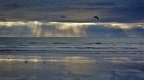 Sunbeams, reflections on the beach, and flying seagull