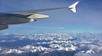 Airplane wing and Southern Alps with Mount Cook