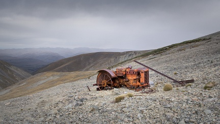 Case tractor abandoned in mountains