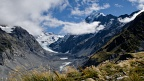 Hooker Glacier and Mount Cook with scattered clouds