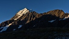 Mount Cook, Nazomi, and Turner Peak in evening sunshine
