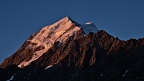 Mount Cook and Nazomi in last evening sunlight
