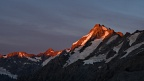 Alpenglow on The Footstool, Mount Sefton, and Mount Thomson