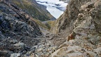Down the rocky gully all the way to Hooker Lake