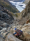 Tramping down the rocky gully
