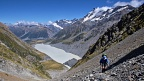 Hooker Lake and tramper in the gully by playing field