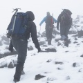 Tramping party near Mt Luxmore summit
